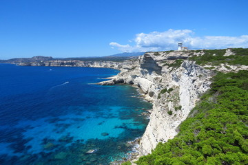 Deep blue sea and white cliffs at Bonifacio,  Corsica, France