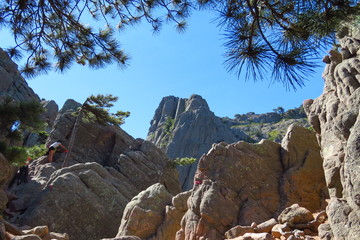 Rock climbing at the Col de Bavella, Corsica, France