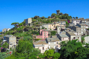 The picturesque mountain village of Nonza, Cap Corse, France