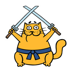 Fat ninja orange cat with two crossed swords. Vector illustration.