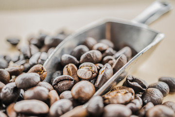 macro of coffee beans with metal scoop