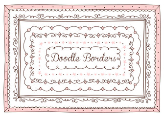 Vector Set Of Cute Doodle Frames And Borders Hand Drawn Design Element For Little Princess