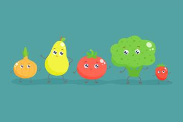 Cute cartoon fruits and vegetables. Vector flat illustration.
