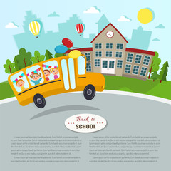 Welcome back to school vector illustration. School and school bus