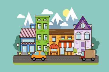 City Street flat design.Bright urban streetscape with cars. Cartoon exterior architecture, touristic place, facade for illustration of business town-planning project, background for any cartoon scene