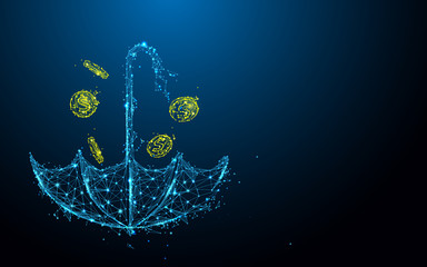 Umbrella with money rain form lines, triangles and particle style design. Illustration vector