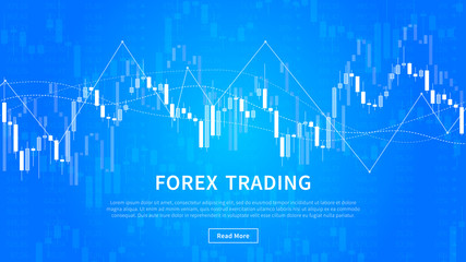 Candle stick chart of financial market trade vector banner. Forex trading graph for fintech project graphic design.