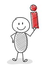 Cartoon stickman holding information sign. Vector.
