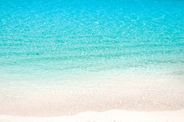 Wall Mural - Lonely sandy beach with turquoise ocean and blue sky