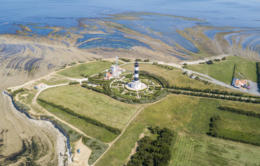 Aerial view of Chassiron lighthouse at low tide