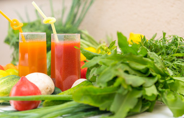 Healthy diet and nutrition with vegetable smoothie