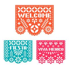 Paper greeting card with cut out flowers, shapes and text. Papel Picado vector template design set isolated on white background. Traditional Mexican paper garland.