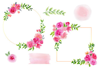 Watercolor set of flower frames and pink stains