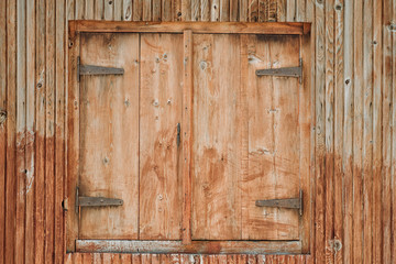 Old closed wood house wall. Background concept.