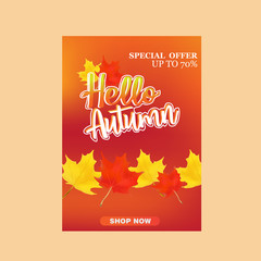 autumn sale vector illustration background