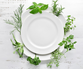 Poster Kruiderij Empty plate with herbs