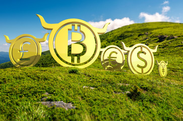 Bullish currency on the top of a hill. green summer mountain ascending trend. stand proud on the peaks at high noon. demanding or bull market concept. composite image with tilt shift effect