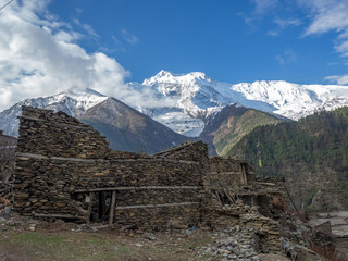 Old Stone houses in Manag Valley with Mountains in the Background on Annapurna Circuit