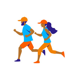 man and woman running  vector illustration isolated graphic