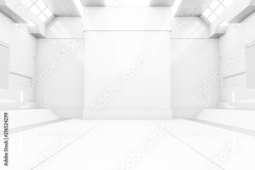 Futuristic tunnel with light  White Spaceship corridor