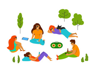 group of young people chilling in the park isolated vector illustration scene