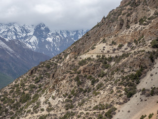 The trail through Manang Valley on Annapruna Circuit