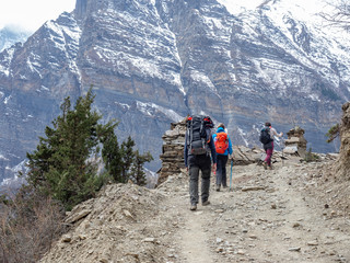 Porters on the Hiking Trail on Annapurna Circuit