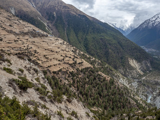 View Ghyaru and the Annapurna Mountain Range from Manang Valley on Annapruna Circuit