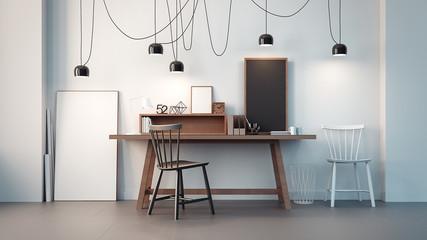 working room & modern office interior / 3D rendering