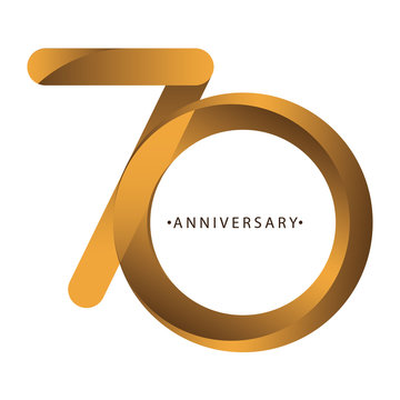 Celebrating, anniversary of number 70th year anniversary, birthday. Luxury duo tone gold brown for invitation card, backdrop, label, logo , advertising or stationary