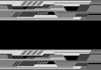 Abstract gray black tone futuristic technology design modern background vector illustration.