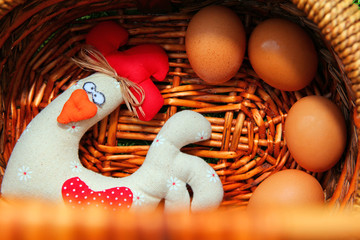 Toy Chicken wooden basket eggs