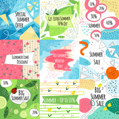 Summer sale vector banners set
