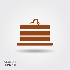 Flat icon of holiday cake