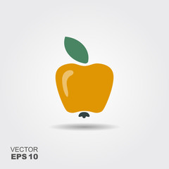 Illustration of apple flat icon with shadow