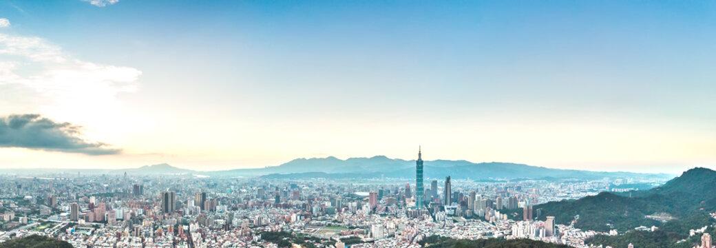 Skyline of taipei city in downtown Taipei, Taiwan.