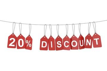 Twenty percent discount tag. 3D rendering.