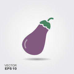 Illustration of eggplant flat icon with shadow