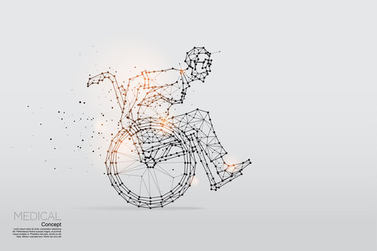 The particles, geometric art, line and dot of business man on wheelchair.