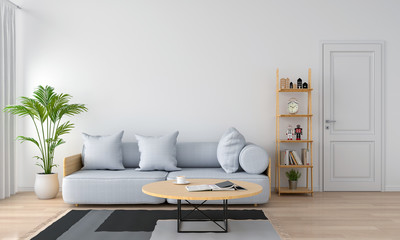grey sofa and pillow in white living room, 3D rendering