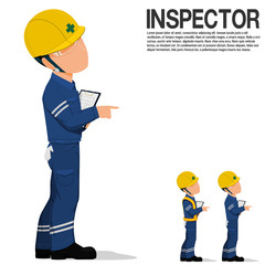 An inspector is pointing something on transparent background