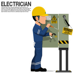 An electrical worker is fixing the electrical cabinet
