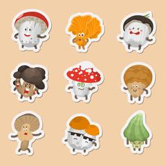 Vector emoticons mushrooms