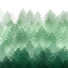 Trees in morning fog. Digital painting..