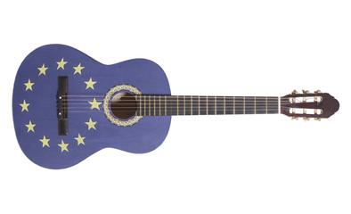Acoustic guitar with European Union Flag