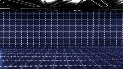3D render Empty room / room sci fi for put branding design dark concept