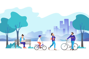 City park. Vector illustration.