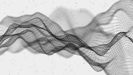 Abstract futuristic illustration.Data technology. Connecting dots and lines on white background....