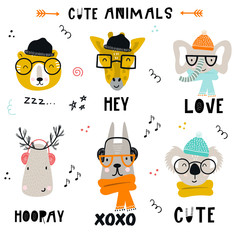 Collection of cute kids cartoon animals with clothes, accessories and lettering in scandinavian style.