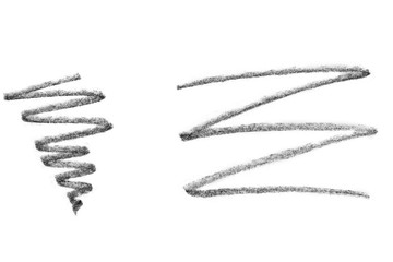 Pencil strokes, isolated on white background